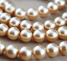 *110pcs Beads- 8mm Champagne Color Imitation Acrylic Loose Round Pearl Spacer*
