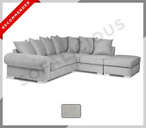 SOFALICIOUS King Corner Sofa in Fabric with Large Ottoman | Light Grey