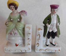 Vintage Porcelain Bookends Irene Series Regency Lady & Gentleman Excellent Cond