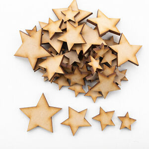 Wooden MDF Shapes Stars Scrapbooking Embellishments Card Decoration