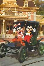 Mickey Mouse & Minnie touring town square Disneyland postcard