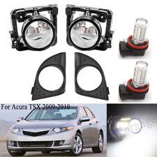 1 Set Fog Light Cover Bezel For Honda Acura TSX 2009 2010 Lamp with LED Bulbs