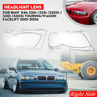for BMW 2002 2003 2004 2005 E46 325i 325Xi 330i 330Xi Headlight Lens Right Side
