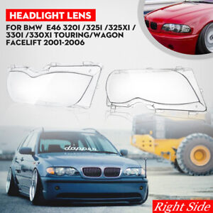 for BMW 2002 2003 2004 2005 E46 325i 325Xi 330i 330Xi Headlight Lens Right Side