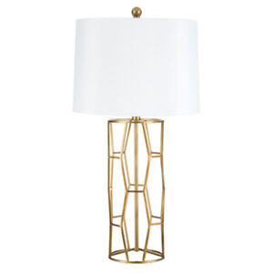 Table Lamp Open Geometric Design in Antique Gold Finish with Round White Shade
