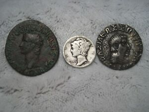 Two Unidentified Ancient Coins with One U. S. Silver Dime (O)