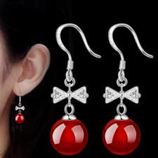 Womens Round Red Ball Bow 925 Sterling Silver Plated Earrings Hook Drop Dangle