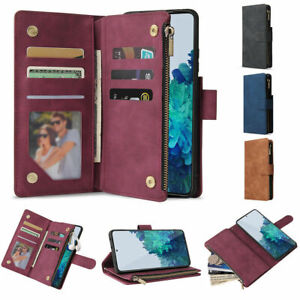 Zip Wallet Case Leather Flip Phone Cover For Samsung S10 S20 FE S21 Plus S9 S8