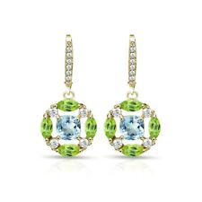 Yellow Gold Flash 925 Silver Peridot Blue & White Topaz Circle Dangle Earrings