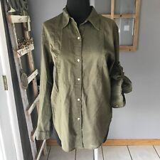 Lauren Ralph Lauren Olive Green Sheer Cotton Tabbed Sleeve Dress Blouse Top M