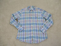 Brooks Brothers Shirt Adult Large Blue Yellow Plaid Button Up Casual Mens *