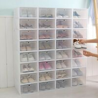 6/12/24X Foldable Shoe Box Storage Small Transparent Case Stackable Organizer US
