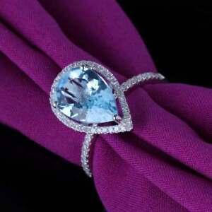 Pear Cut 8x12mm Elegant 10K White Gold Engagement 3.95ct Diamond Blue Topaz Ring