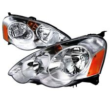 02-04 Acura RSX JDM Chrome Headlights w/Amber Reflector DC DC5 Type S Base ITR