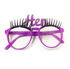 Hen Night Glasses With Eye Lashes Purple Pretty Fancy Dress Party Lenses UK