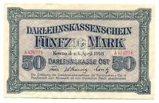 Germany WWI Occupation of Lithuania 50 Mark 1918 VF #469