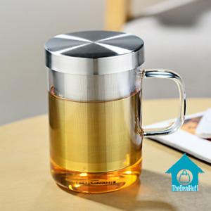 Glass Coffee Mug 500ml Cup Tea Stainless Steel Infuser Lid Home Drinkwares Item
