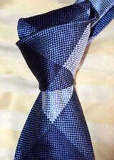 "$250 NWOT TOM FORD Navy w/ BLUE overcheck Heavy woven men's 3.9"" silk tie Italy"