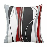 New Wavy Vertical Stripes Red Black White Grey Cushion Cover Case 18 x 18 inch