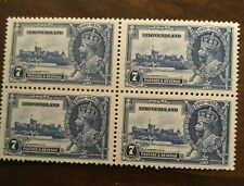 MINT NH 224 BLOCK NEWFOUNDLAND KING GEORGE V SILVER JUBILEE ISSUE