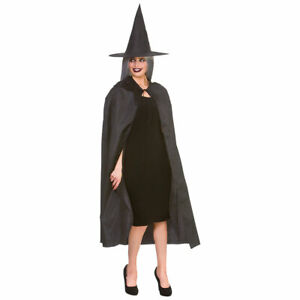 Black Witch Cape + Hat Adults Halloween Witches Fancy Dress Costume