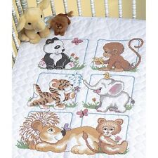 Dimensions 238065 Animal Babies Quilt Stamped Cross Stitch Kit-34inX43in NEW