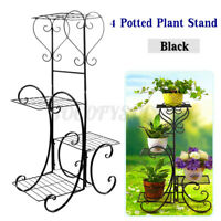 4 Tier Metal Flower Pot Rack Plant Display Stand Shelf Holder Garden Decor