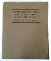 1908 Heads of Families First Census United States 1790 New York State with Map