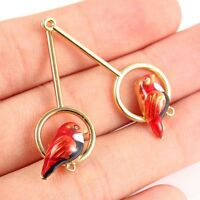 10X Gold Plated Long Enamel Bird Round Frame Charm Connector For Dangle Earrings