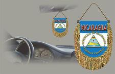 NICARAGUA REAR VIEW MIRROR WORLD FLAG CAR BANNER PENNANT
