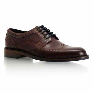 Goodwin Smith Mens Alfred Dark Bordo Leather Derby Brogue Shoes