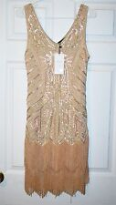 BABEYOND WOMENS 1920s FLAPPER DRESS- GREAT GATSBY DRESS-BEADED-FRINGE-SMALL-NEW!