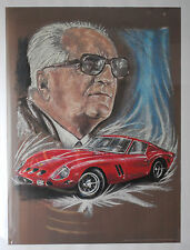 """Handdruck  Portrait  """" Enzo Ferrari """" von Jorge Ferreyra Basso"""