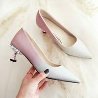 Womens Trendy Pointy Toe Glitter Diamante Kitten Mid Heels Bride Wedding Shoes