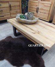 Couchtisch Massivholz mit Ablage, mit Metallgestell U-Form, Altbuche geölt,
