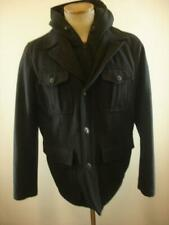 Levi's Mens M Wool Blend Military Jacket Hood Charcoal Gray Zip Out Bib Hoodie