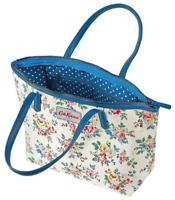 NEW Cath Kidston Floral Rose Cream / Blue Leather Trim Tote Hand Bag Shopper