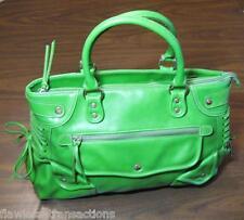 BARNEYS NEW YORK NY Green Genuine Leather Large Studded Handbag Purse Bag NICE