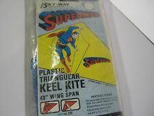 "VTG NEW 1971 SUPERMAN KITE Plastic Keel 48"" Wing Span DC COMICS NOS Sky-Way 215"