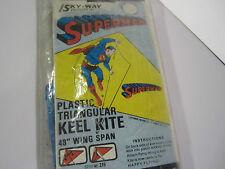 "VTG NEW 1971 SUPERMAN KITE Plastic Keel 48"" Wing Span DC COMICS NOS Sky-Way 215"