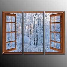 FRAMED Wall Art Decor Winter Forest Outside Window Painting on Canvas Print-3pcs