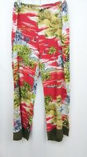 Hawaiian Print Pants Wide Leg Rayon Size Large