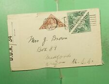 DR WHO 1945 NEW ZEALAND HEALTH STAMP TRIANGLE PAIR WWII CENSORED TO USA g13880