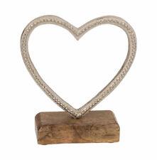 Metall Deko Herz mit Prägung 14 cm auf Holzsockel Wohnaccessoire silberfarben
