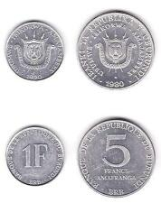 Burundi Uncirculated Coin Pair, 1 And 5 Francs, Km19-20 Set