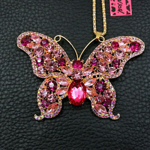 Betsey Johnson Women Crystal Pink Butterfly Pendant Sweater Chain Necklace