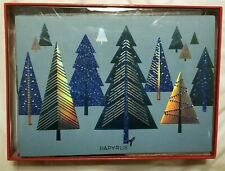Papyrus Blue and Silver Tree Holiday Christmas Card Box Set of 12