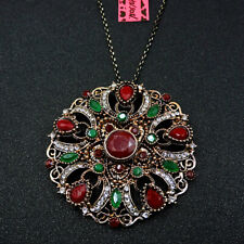 Crystal Enamel Rhinestone Red Cute Flower Betsey Johnson Sweater Necklace