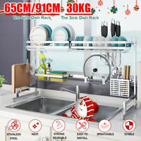 91CM Over Sink Dish Drying Rack Shelf Stainless Steel 304 Kitchen Cutlery Holder