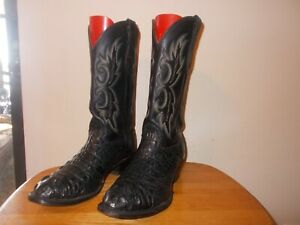 Men's Larry Mahan  #27241 Black Caiman Gator Leather Western Cowboy Boots 11E